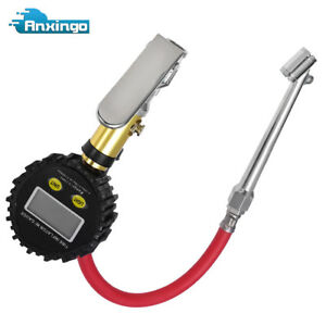 Air Tire Inflator With High Accurate Digital Pressure Gauge With Clip Chuck New