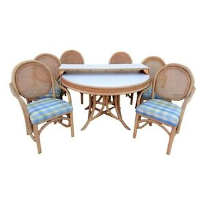 Vintage Brown Jordan Label Rattan And Cane Dining Set 6 Chairs Table W Leaf