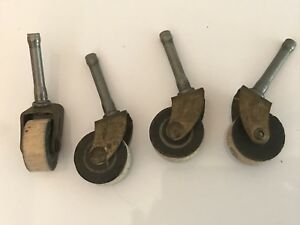 Set Of 4 Antique Vintage Metal Wood Industrial Caster Cart Wheels Chair Desk