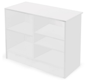 48 White Store Counter Cash Register Stand W 3 Adjustable Storage Shelves