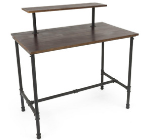 2 Tier Pipeline Dark Stained Wood Tabletop Nesting Retail Clothing Display Table
