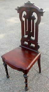 Antique 19 C Gothic Walnut Hall Chair Chair Storage For Bible Books