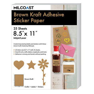 Milcoast Glossy Full Sheet 8 5 X 11 Adhesive Waterproof Brown Kraft Paper