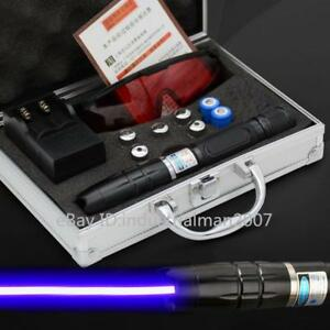 High Power Blue Laser Pointer Pen 5000lm Rechargeable Focusable Laser 2x16340 Us