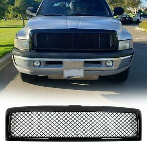 Glossy Black Mesh Hood Bumper Grill Grille Abs Fit 94 02 Dodge Ram 1500 2500