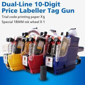 Lot1 30x Price Tag Gun Mx 6600 Dual line 10 digit Labeler With 5 Volume Tags be