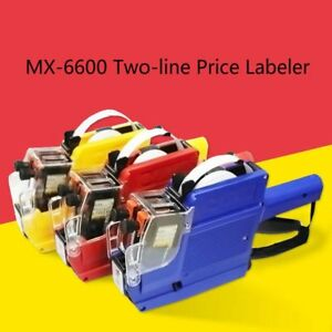 1 30pcs 10 Digits 2 Lines Labeler Portable Price Tag Gun With 5 Volume Tags Lot