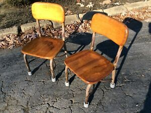 2 Vintage Same Heywood Wakefield Children S Wood Metal School Chairs Very Good