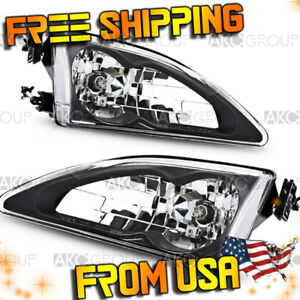 Fits 1994 1998 Ford Mustang Cobra Black Clear Headlights