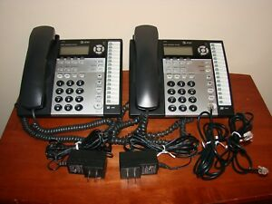 Lot 2 At t 1070 4 line Corded Small Business Telephones W Receiver Ac Adapter