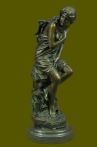 Auguste Moreau Solid Bronze Nude Girl Sitting Taking Bath Sculpture Art Decor