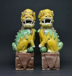 Antique Chinese Export Pair Foo Dog Figurines 8 Inches Tall Marked China
