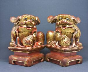 Antique Chinese Export Pair Foo Dog Figurines 6 Inches Tall