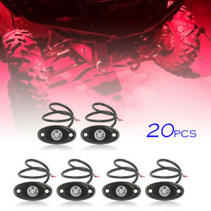 20x Red Led Rock Lamp Fit Jeep Atv Off road Truck Under Body Trail Rig Bar