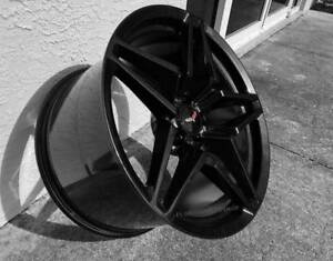 Gloss Black Carbon Flash C7 Zr1 Corvette Wheels 2005 2013 C6 Base 18x8 5 19x10