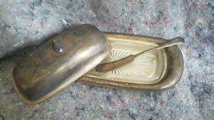 Vintage Universal Silver Plate Acorn Butter Dish Glass Liner W Knife Rare