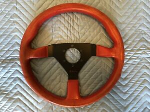 Vintage July 1989 Genuine Momo Red Air Leather Steering Wheel Typ V35 Kba 70068