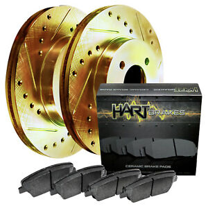 Fits Volkswagen Quantum Front Gold Drill Slot Brake Rotors ceramic Brake Pads