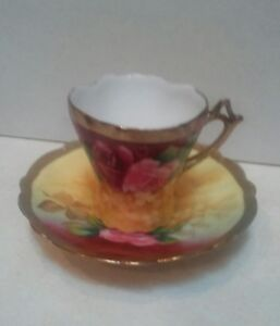 Antique Newport Belle Germany Hand Painted Demitasse Cup And Saucer