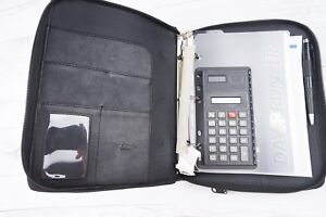 Day Runner Classic Edition Planner Zip Black Leather 3 ring Binder W Calculator
