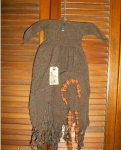 Primitive Decor Wall Dress Black Tan Plaid Raggedy Witch Hag Halloween Grungy