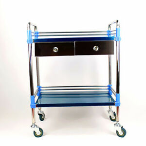 Hospital Medical Dental Lab Cart Trolley Stainless Steel Two Layers Drawer Udw