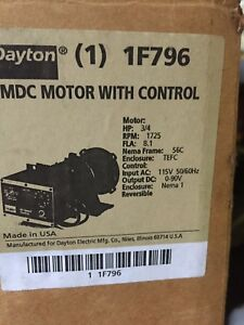 3 4hp 1750 Rpm 56c Frame 90 Volt Dc Electric Motor With Control Dayton 1f796
