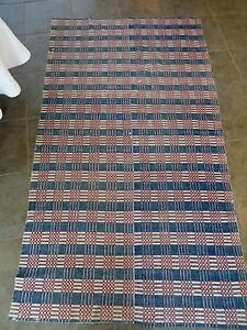 Antique 1800 S Red White Blue Handwoven Coverlet Blanket Middle Seam 56 X 99
