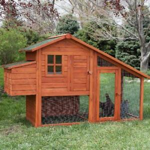 Wooden Chicken Coop Shed Cage Poultry House Hen Wood Pet Nest Lift Roof Ramp
