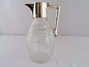 Antique Silver Plate Cut Glass John Grinsell Sons Claret Wine Pitcher 17958