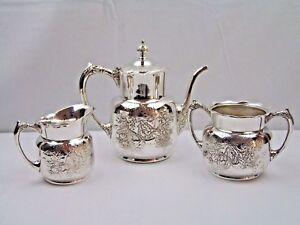 Antique Pairpoint Aesthetic Silverplated Dogwood Reposse Coffee Set 3pc 327 Vgc