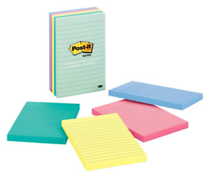 Post it r Notes 4 In X 6 In marseille Collection Lined 5 Pads pack 100 Sheets