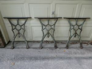 Three Antique Cast Iron Table Legs Very Ornate