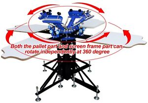Floor Type Four Color Four Station Double Wheel Screen Printing Machine
