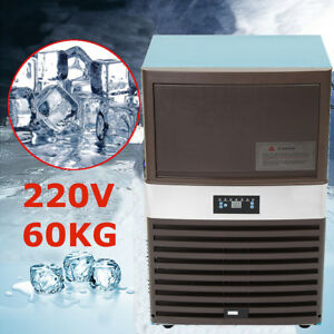 60kg Commercial Ice Air Cooled Cube Maker Machines Stainless Steel Freezers Bar