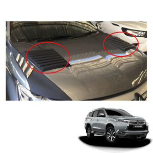 Mitsubishi Pajero Montero Sport Bonnet Hood Scoop Cover Matt Black Fit 2016 2017