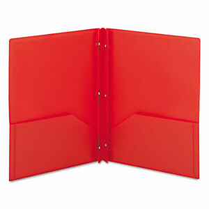 Smead Poly Two pocket Folder W fasteners 11 X 8 1 2 Red 25 box smd87727