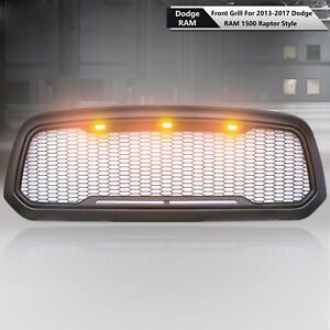 For 2013 2017 Dodge Ram 1500 Raptor Gloss Black Mesh Grill Grille shell amberled