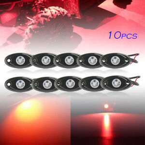 10pcs Red Led Rock Lamp For Jeep Atv Off road Truck Under Body Trail Rig Bar