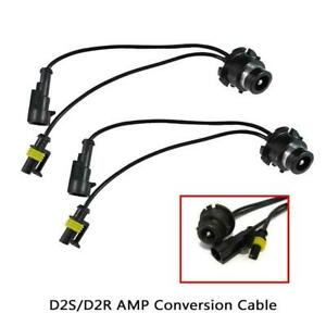 2x D2s D2r Amp Harness Adapter Light Conversion For Wire Hid Ballast Bulb Kit