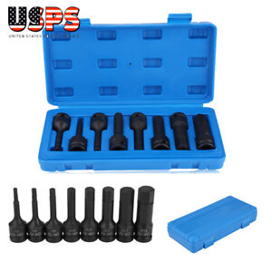1 2 Black Drive Hex Bit Impact Socket Set 8pcs Metric Long Air Allen Driver
