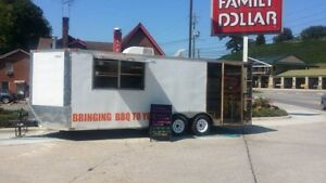 Used 24x8 5 Ft Bbq Concession Trailer With Porch
