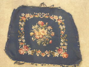 Antique Needlepoint Petit Point Wool Silk Panel Floral Flowers Motif 20x24