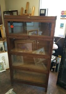 Antique Turn Of The Century Lundstrom Oak Barrister 4 Section Bookcase