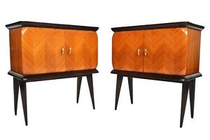 Pair Of Italian Modern Mid Century Rosewood Nightstands In The Style Of Dassi