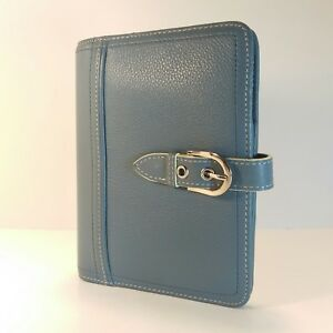 Franklin Covey Pocket Full Grain Blue Leather Unstructured Binder Planner