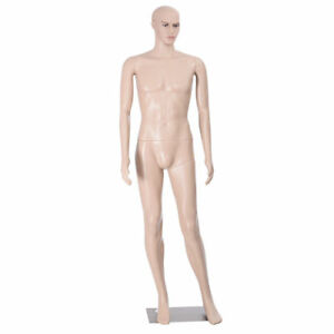 Male Mannequin Plastic Realistic Display Head Turns Dress Form W Base