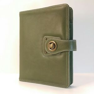 Franklin Covey Classic Full Grain Olive Green Leather Planner Binder Organizer