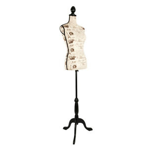 Female Mannequin Torso Dress Form Black Tripod Stand Fashion Style Foam