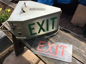 Vintage Industrial Triangular 2 Glass Exit Sign Very Good